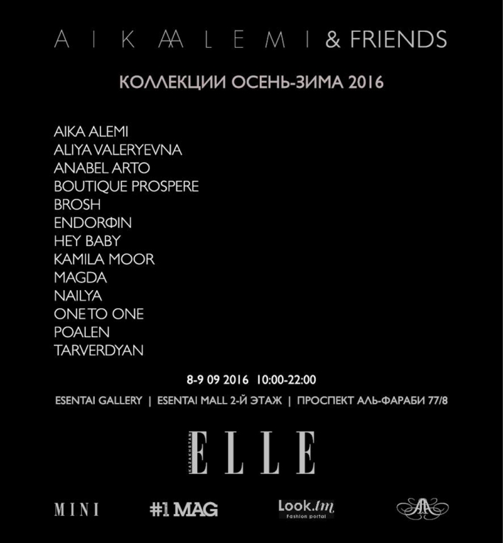 NEWS: 8 and 9 September in the framework of AIKA ALEMI & FRIENDS Kazakhstani designers and brands will present the new collections fall-winter 2016