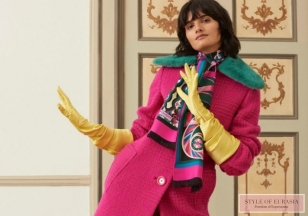 Bright shades and multi-colored pantyhose in the collection of Emilio Pucci pre-fall 2018